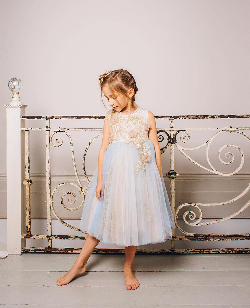 Crystal Blue Tulle Dress Ball Gown Sleeveless
