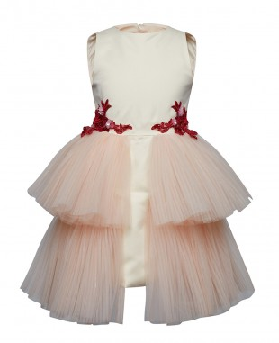 Ivory Detailed Layered Tulle Dress Pink Sequin Dress