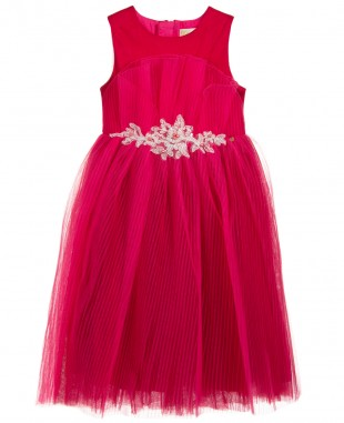 Dark Pink Lace Dress Sleeveless