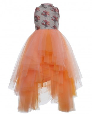 Orange Shell Layered Tulle Dress Sleeveless Long Skirt