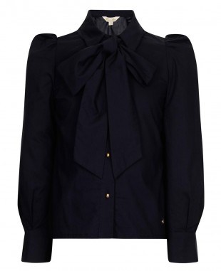 Navy Pussybow Blue Blouse