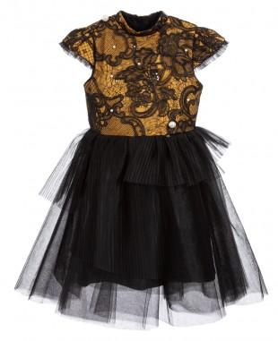 Black & Gold Dress Pearl Princess Dress Flowergirl