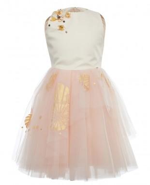 Girls Pink Satin & Tulle  Dress
