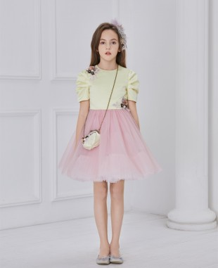 Capped Sleeve Yellow satin and pink tuelle dress