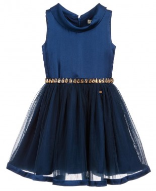 Blue Mystique Short Dress with Jewel Waist  Sleevless
