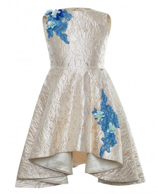 Gold and Blue Jacquard Coral Dress