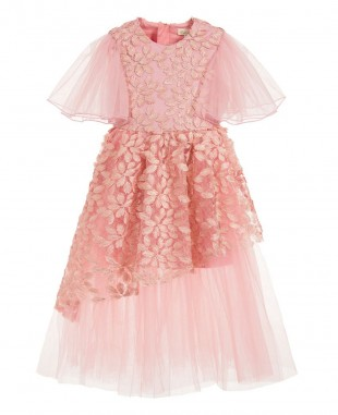 Pink Lace Tulle Dress Elegant Wedding Dress