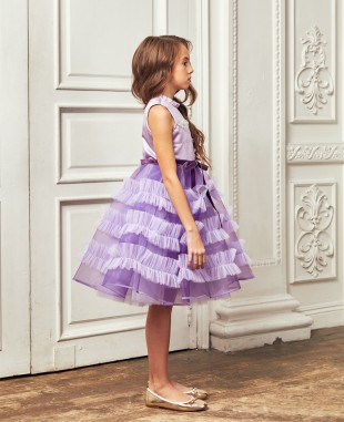 Lilac Queen Bee Tuelle Layered Dress