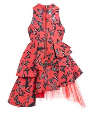 Red Brocade Princess Dress  Sleeveless Floral Dress