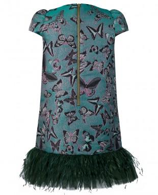 Emerald Brocade Feather Dress  Emerald Green Prom Dress