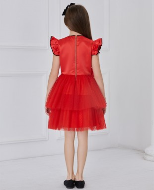Red Capped Tuelle Dress
