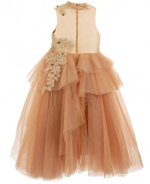 Golden Tulle Dress Lace Dress Ball Gown Sleeveless