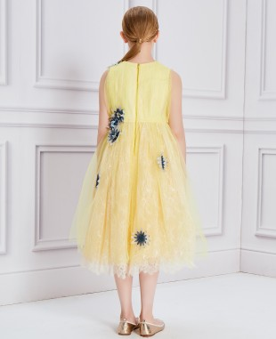 Yellow Floral Tulle Dress