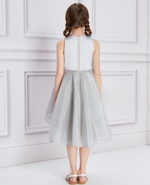 Silver Floral Tulle Dress