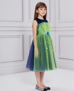 Midnight Blue  navy  & Green Tulle Dress