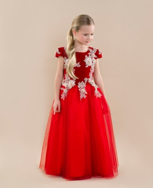 Red Lace Dress Maxi Dress Short sleeves