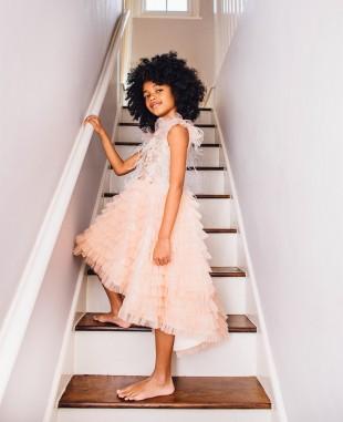 Cream Essence Dress Sleeveless Lace Dress Tulle Skirt