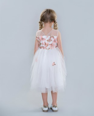 White and Pink Ball Gown Formal Dress Wedding Flowergirl