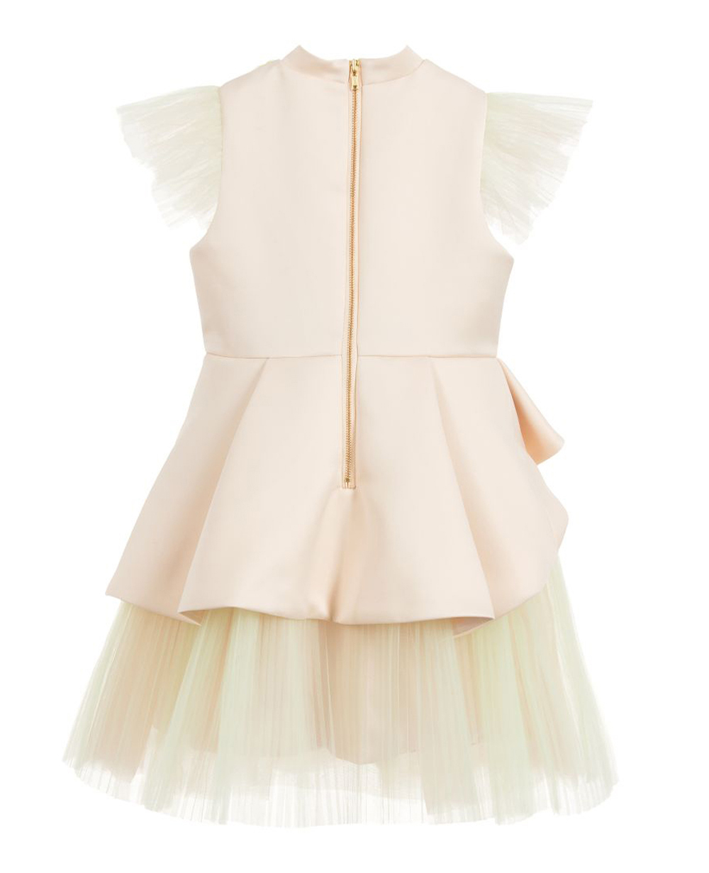 Ivory Satin & Tulle Dress  Sequin Party Dress