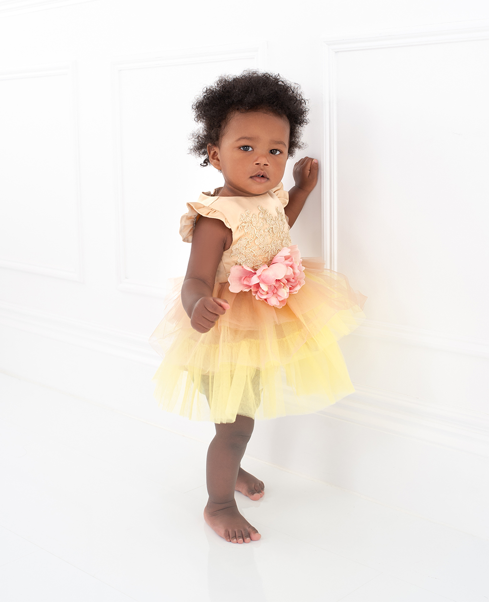 Gold Floral Tulle Dress