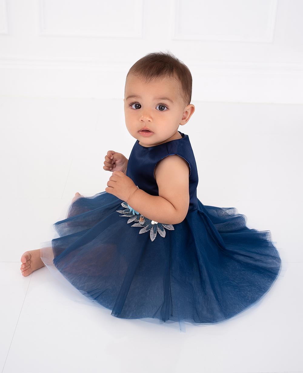 Blue Floral Tulle Dress