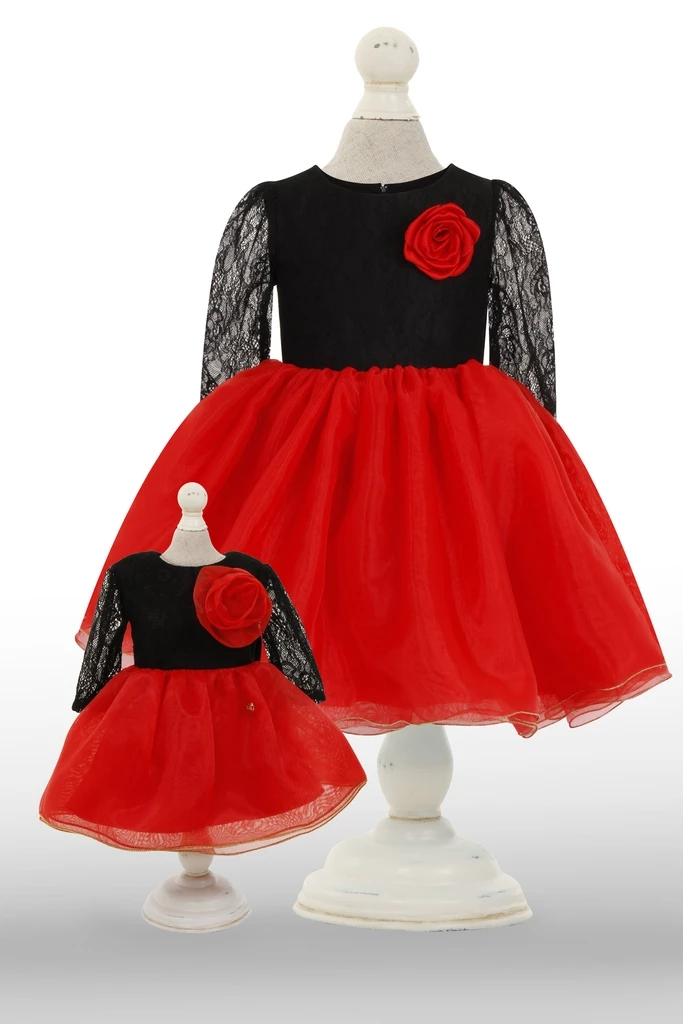 Dolly Dress: Black & Red Alert