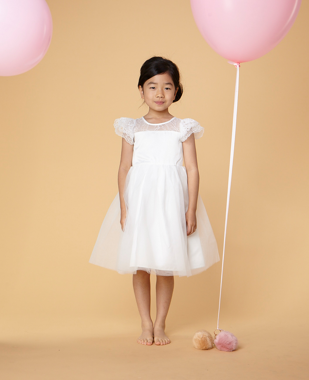 Short Sleeve White Party Dress Flowergirl