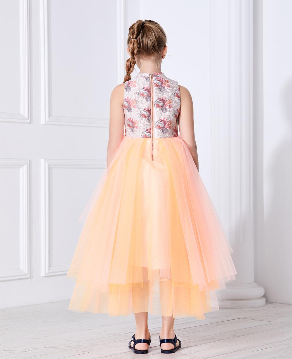 Orange Shell Layered Tulle Dress Sleeveless Long Skirt