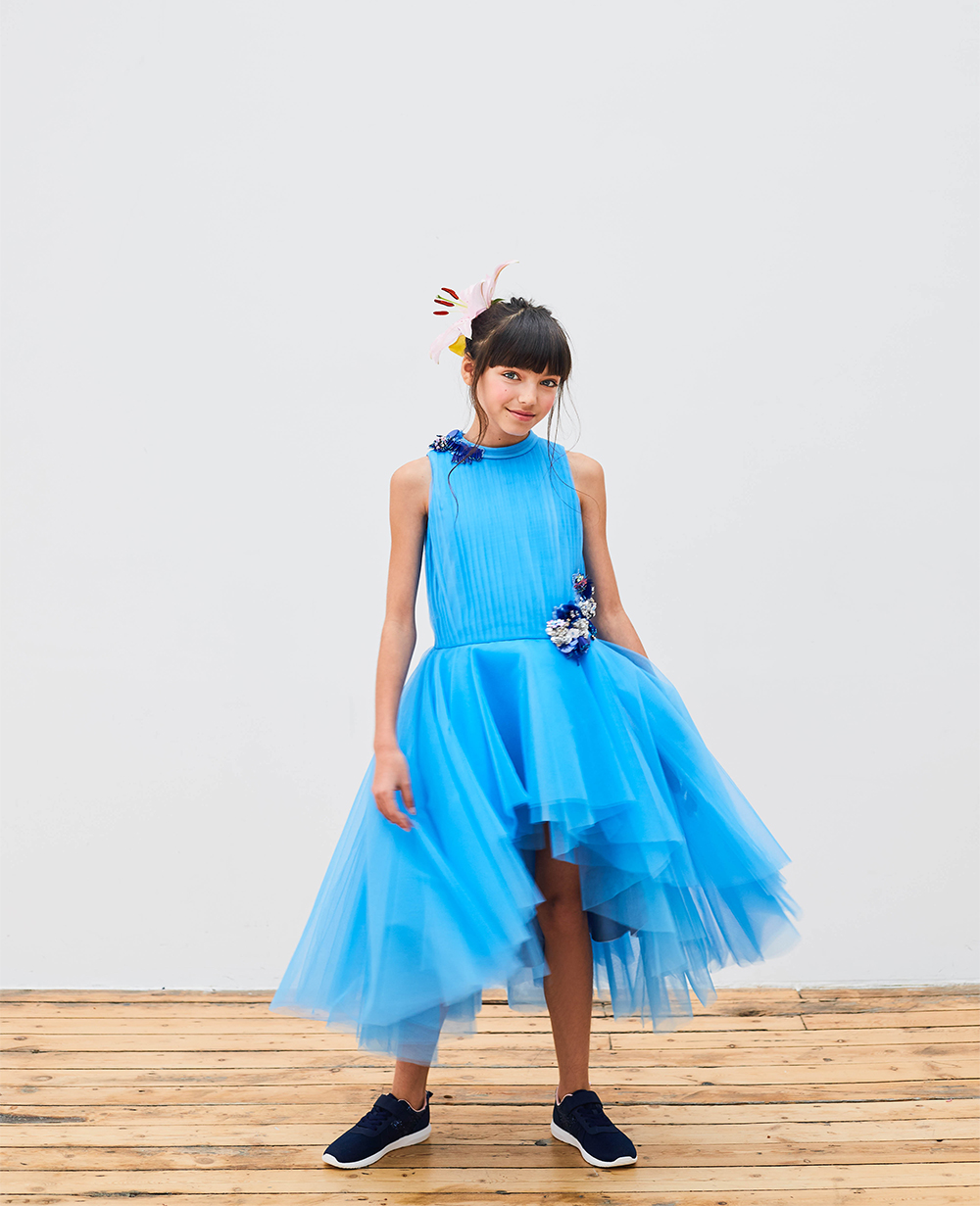 Blue Maxi Dress Tulle Skirt Sleeveless Flowergirl Wedding Dress