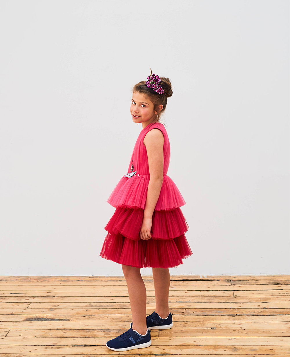 Pink Tulle Skirt Flowergirl Sleeveless Wedding Dress