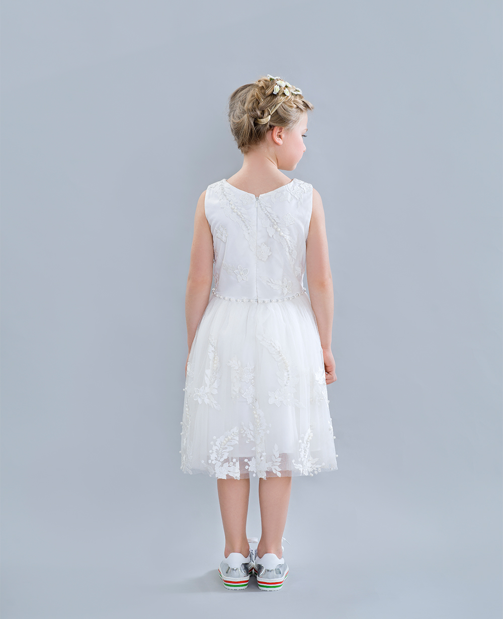 White Dress Wedding Dress  Sleeveless Formal Wear Flowergirl