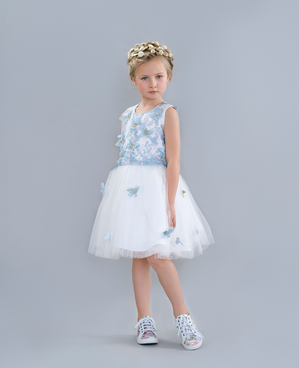 White and Blue Party Dress with Tuelle Skirt Sleeveless Wedding Dress